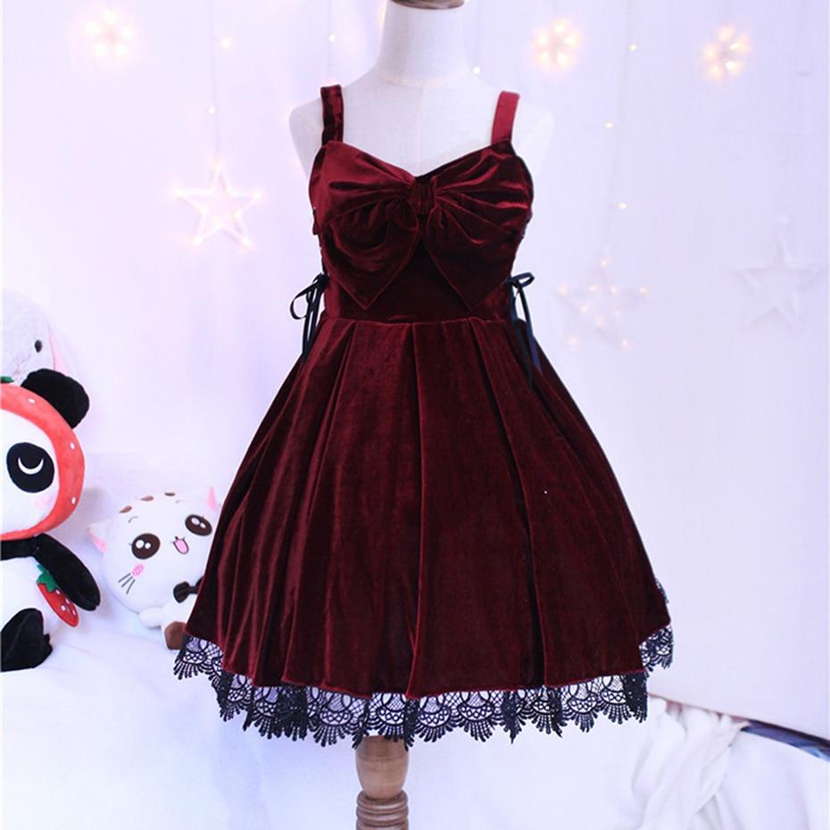 Nueva japonesa Lolita Sets mujeres lindo vino rojo vestido + blusa - Disfraces
