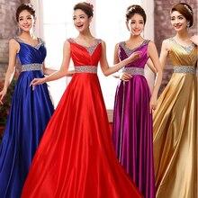 Satin Dress Long Vestido De Festa Sequin Lentejuelas Womens Sleeveless V-Neck Elegant Vestidos Largo Longo Robo Pull
