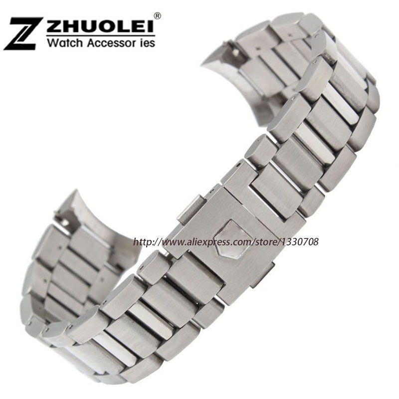 New 22mm Top Grade Brushed Stainless Steel Watchband BANDS Strap With Double Push Clasp Buckle for mens Strap bracelet brand men wristwatch new 22mm top grade brushed stainless steel watchband band strap with double push clasp buckle free shipping