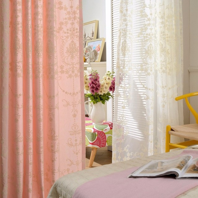 Surprise Price Three-dimensional Embroidered voile Curtains european pastoral fabric Complete Window Curtain Pink Purple