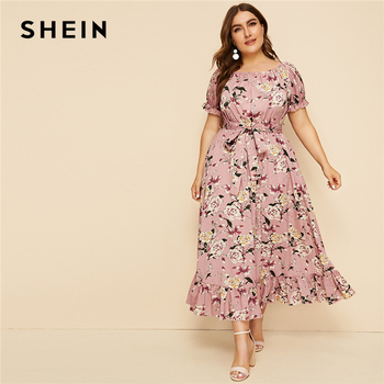 SHEIN Plus Size Pink Ruffle Hem Floral Print Belted Long Dress Women 2019 Summer Autumn Boat Neck High Waist A Line Boho Dresses