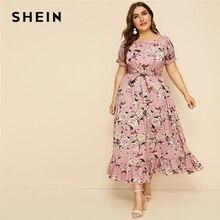 SHEIN Plus ขนาดสีชมพู Ruffle Hem พิมพ์ดอกไม้ Belted ชุดยาวผู้หญิง 2019 ฤดูร้อนฤดูใบไม้ร่วงเรือคอสูงเอวสายชุด Boho