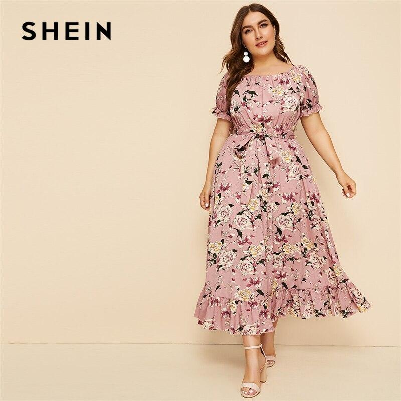 SHEIN Plus Size Pink Ruffle Hem Floral Print Belted Long Dress Women 2019 Summer Autumn Boat Neck High Waist A Line Boho Dresses