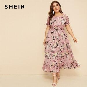 Image 1 - SHEIN Plus Size Pink Ruffle Hem Floral Print Belted Long Dress Women 2019 Summer Autumn Boat Neck High Waist A Line Boho Dresses