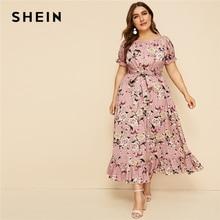 SHEIN زائد حجم الوردي كشكش تنحنح الأزهار طباعة مربوط فستان طويل المرأة 2019 الصيف الخريف قارب الرقبة عالية الخصر خط بوهو فساتين