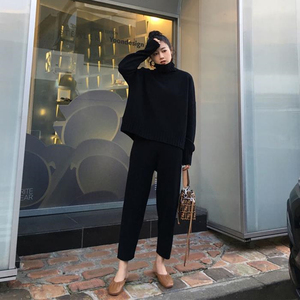 Image 5 - Spring Winter Knitted Tracksuit Turtleneck  Sweatshirts Fashion Women Suit Clothing 2 Piece Set  Pant Female