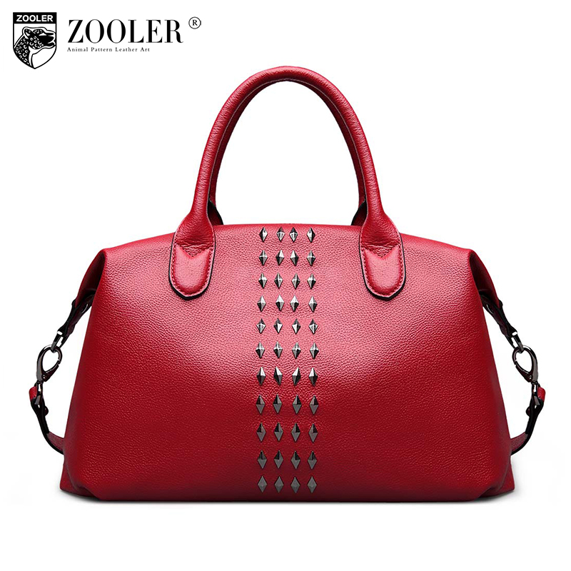 ZOOLER Luxury bags handbags women famous brand genuine leather bag Elegant rivet stylish shoulder bags bolsa feminina  #3630