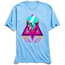 Hip Hop SKULL Tshirt Man Blue T-shirt Mens Graphic Geometric Tops T Shirt O Neck 100% Cotton High Street Design Halloween Tees
