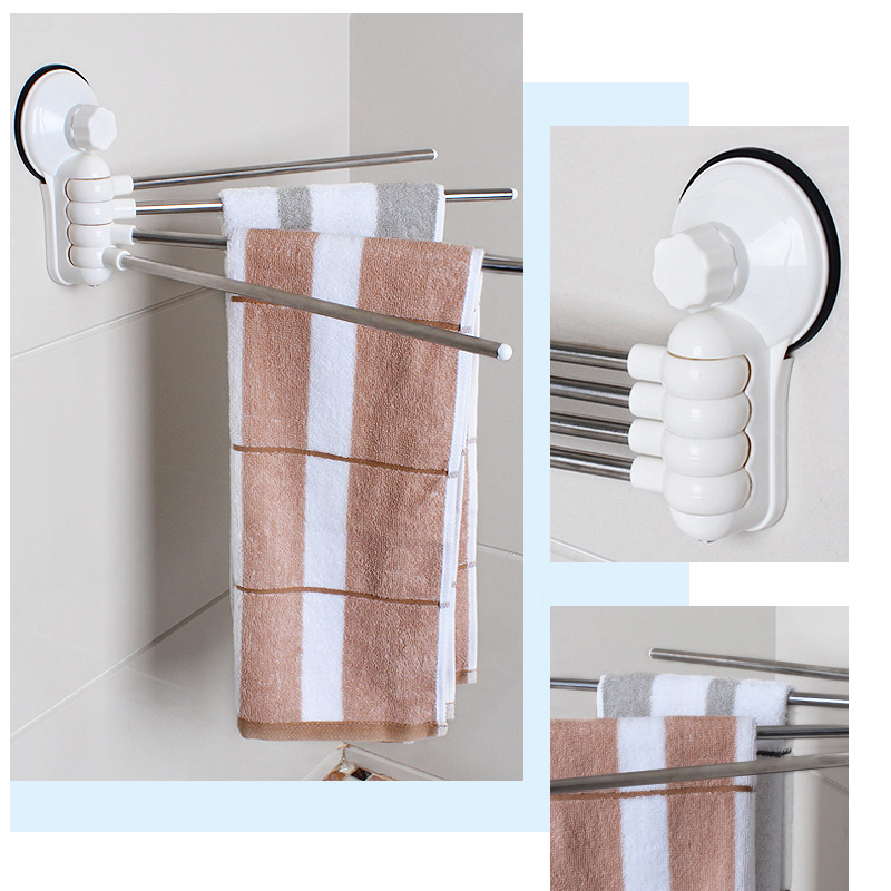 Wall Mounted 4 Arm Swing Bath Bathroom Towel Holder Organizer ...