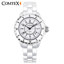COMTEX Women's Watches white Ceramic WristWatch   Calendar Waterproof Quartz Watch fashion Leisure Watches Luxury ceramica clock