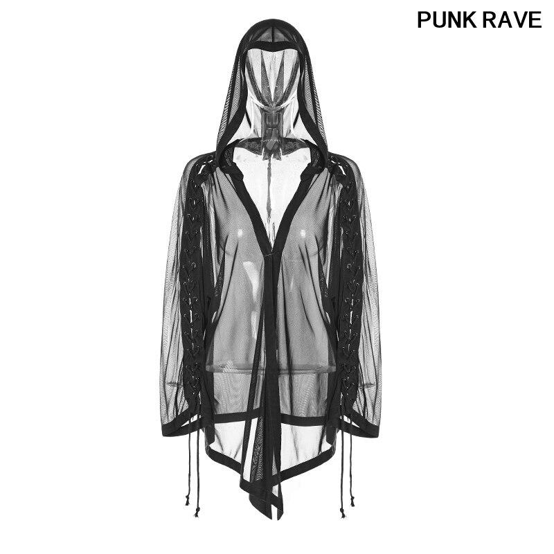 Mode corde élastique Net élasticité maille tranchant-coudé ourlet lâche veste gothique femelle irrégulière court manteau PUNK RAVE OPY-314XCF