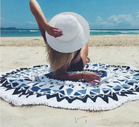 2018 hot sell microfiber beach towel round with tassel 150cm circular thick beach floor towel