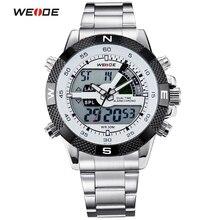 WEIDE Marca Hombres Deportes Relojes hombres de Cuarzo Multifunción Reloj Militar Analógico Digital Relojes de pulsera de Acero Inoxidable A Prueba de agua