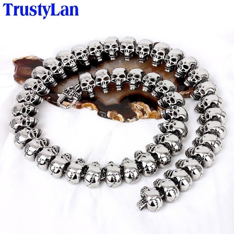 TrustyLan Cool Gothic Male Necklaces Vintage Full Skull Skeleton Necklace For Men Long Design Link Chain