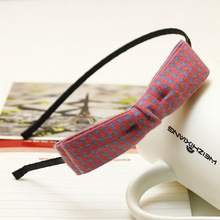New Korea Korean version of the jewelry fashion bow cloth small grid hair hoop head hoop