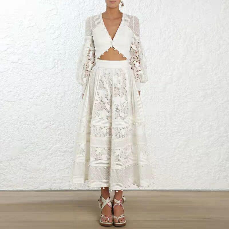 2020 Summer Women Runway Dress Suits Fashion Lantern Sleeve Lace Patchwork Sexy Top + High Waist Long Skirt 2 Piece Party Dress