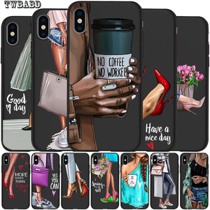 Image 1 - ファッションハイヒールガール花ラグジュアリー携帯電話のケースカバー iphone X XS 最大 XR 6 7 8 プラス 5S 、 SE ソフトケースカバー小箱