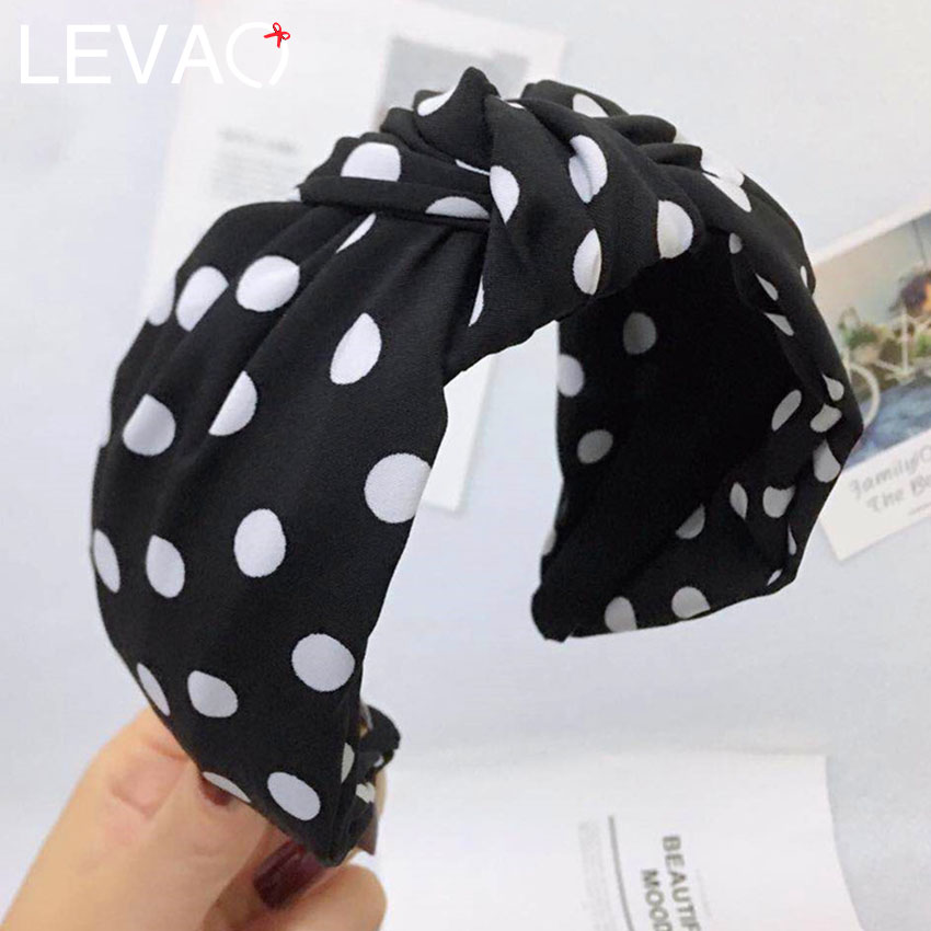 LEVAO Dot Retro Print Hairband Head Band Headwear Wide Knotted Plastic Hair Bands Hoops Headband For Women Hair Accessories