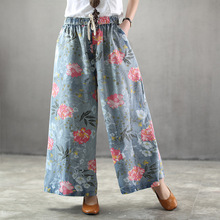 купить Summer Woman Plus Size Denim Wide Leg Pants Nation Style Vintage Floral Print Pocket Elastic High Waist Jeans Pants Casual Pants дешево