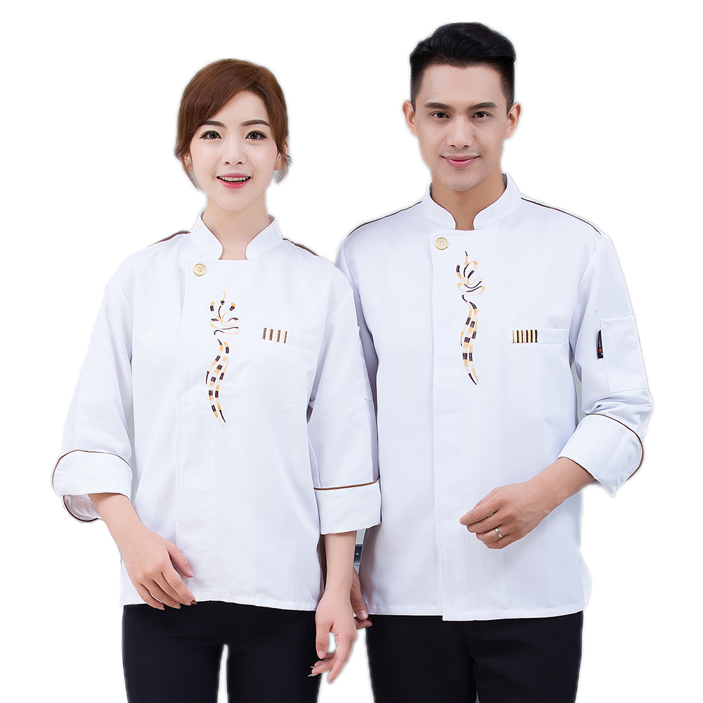 Newly Long-Sleeved Restaurant Waiter Accessories Breathable Chef's Jacket Hotel Kitchen Men Top Work Clothes Uniform Overalls