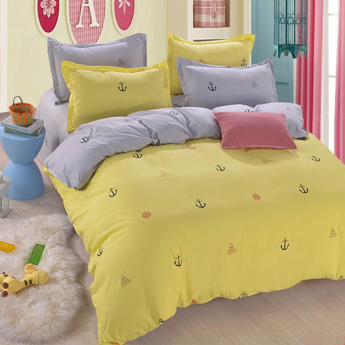 Hot Yellow Seafaring Printd Bedding Set Cotton Duvet Cover