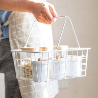 Japanese Portable Wrought Iron Storage Basket Home Small Objects Storage Baskets White Multi function Iron Basket
