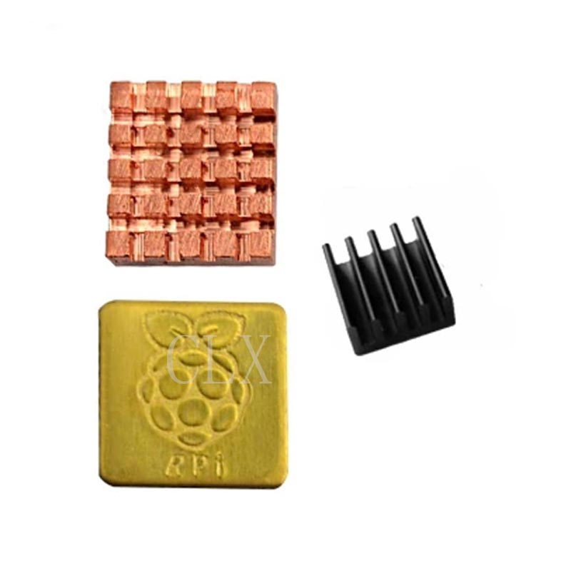 Raspberry Pi Heat Sink Aluminum Copper Metal Heat Dissipation Pad CPU WLAN Cooling Heat Sink for Raspberry Pi 3 Model B+/3B