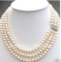 Women Gift Freshwater natural 3 Rows 7 8 Cultured Cream freshwater Pearl Necklace CHOKER pearl Jewelry fashion jewellery