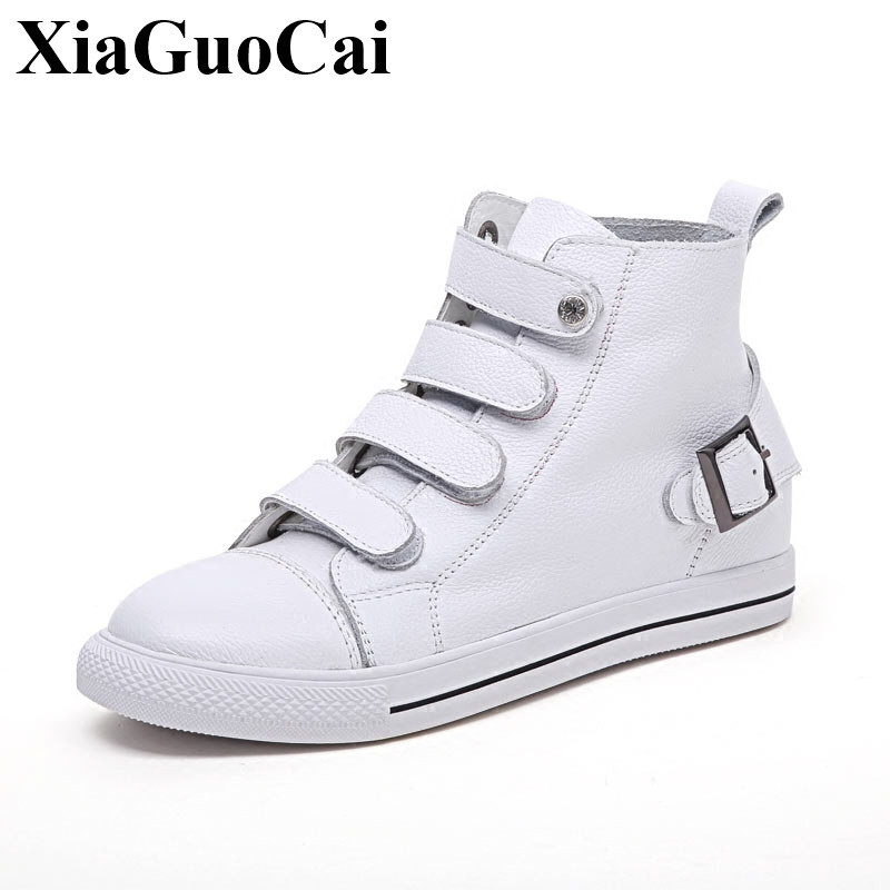 Genuine Leather High-top Casual Shoes Women White Shoes Winter Fleeces Flats Shoes Hook&loop Height Increasing Shoes H543 35