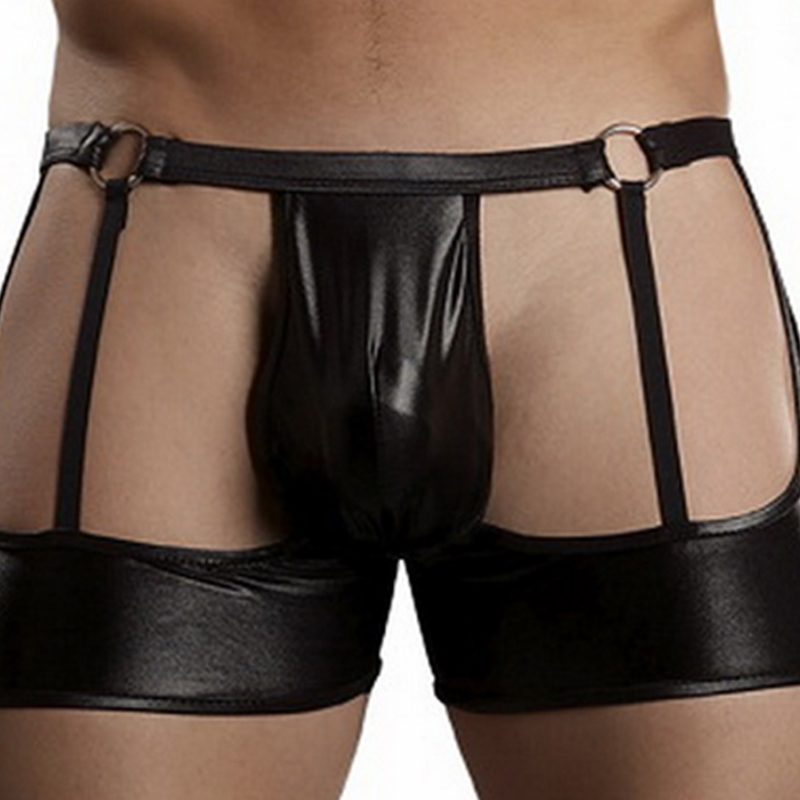 Men's Sexy Boxer Shorts Faux Leather Bandage Black Open Butt Boxers Pants Man Sexy Club Wear Underpants For Men Male Sexy Boxers