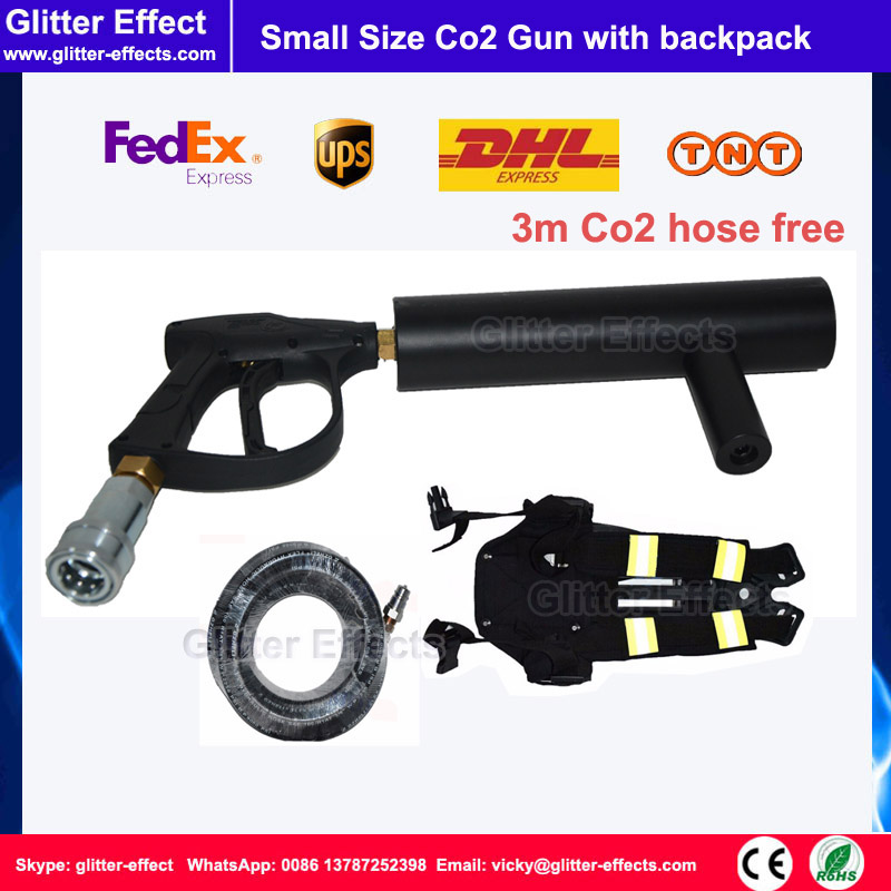 Disco theater mini DJ Co2 gun Hand-hold night club stage special effect fog jet machine with 3m Co2 hose and tank backpack