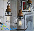 Lâmpada moderna do pendente de Metal materiais de grão de madeira pingente de vidro Restaurante sala de estar pendurado luminária