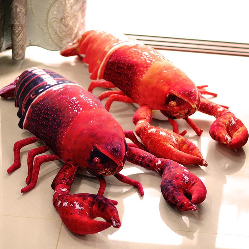 Funny Simulated 50cm big lobster plush toy,Creative sea animal plush stuffed warm fish shrimp soft kids birthday gifts children bigger size soaked absorbent toy growing animals funny kids swell toy sea