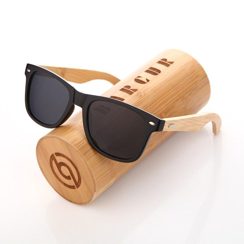 BARCUR Tendências Estilos Polarizado Quadro PC Óculos De Sol De Bambu de Madeira óculos de Sol Homens shades oculos de sol Feminino