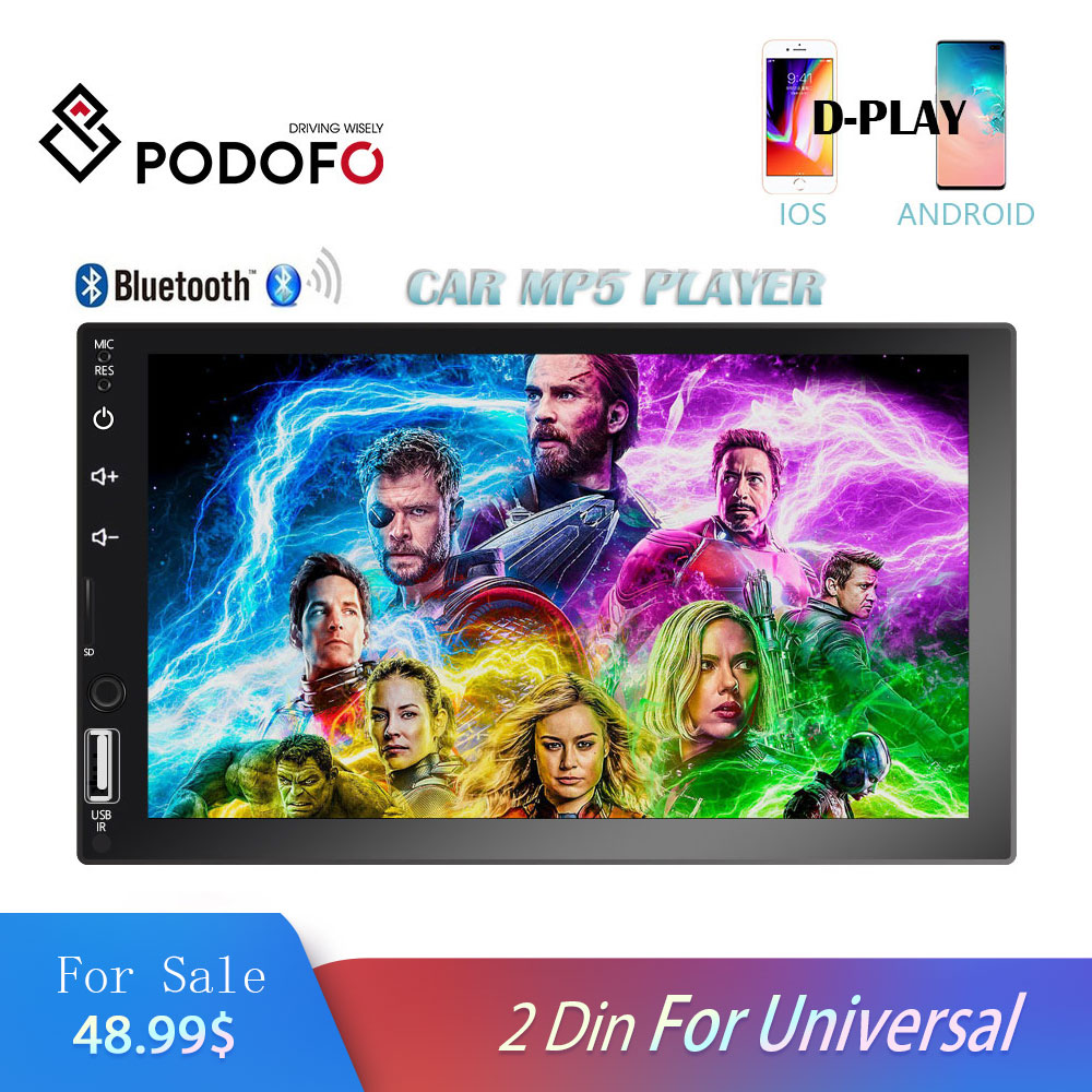 Podofo 2 din Car Radio 7 HD Auto Audio Stereo Multimedia Video Player Bluetooth FM AUX