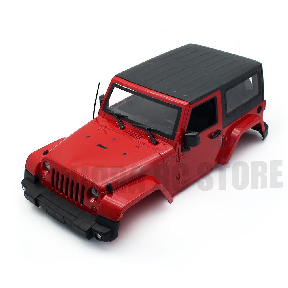 INJORA Red/Yellow 270mm Wheelbase Hard Plastic Body Shell For Axial SCX10 D90 Jeep Wrangler Body