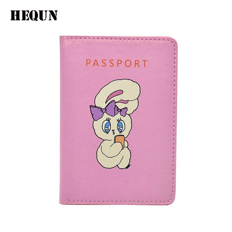 HEQUN Cute Cartoon Rabbit Passport Wallet Women Fashion Leather Women Passport Cover Pink Card Holder Lady Travel Passport Case ...
