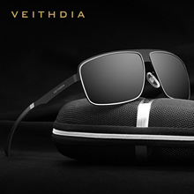 VEITHDIA Stainless Steel HD original Aluminum Polarized UV400 Men's Square Vintage Sun Glasses Male Eyewear Sunglasses For Men
