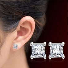 2017 new arrival hot sell fashion square zircon 925 sterling silver ladies`stud earrings jewelry Valentine's Day gift new arrival sterling silver 925 emerald earrings silver square openwork green zircon stud earrings for women palace jewelry gift