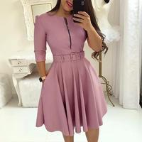 Purple Blue Pink Autumn Women Dress Zipper Belts Swing sukienka Casual 3/4 sleeve Ladies frocks Elegant Skater Dresses