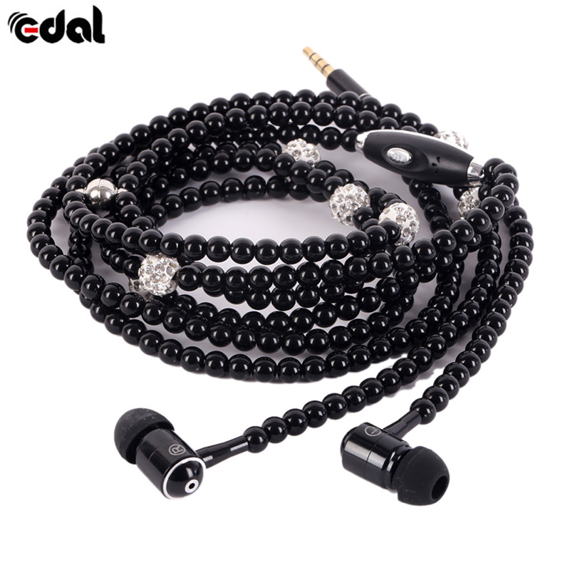 New Brand Earphones Jewelry Pearl 3.5mm Necklace with Mic for Universal Phones