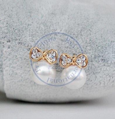 Stud Earrings ear rings Fashion for women Girls lady pearl bowknot grace simple desgin CN post