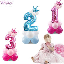 FENGRISE Pink Crown Number Ballons Foil Baloon First Birthday Girl Party Decorations Children Baby Shower