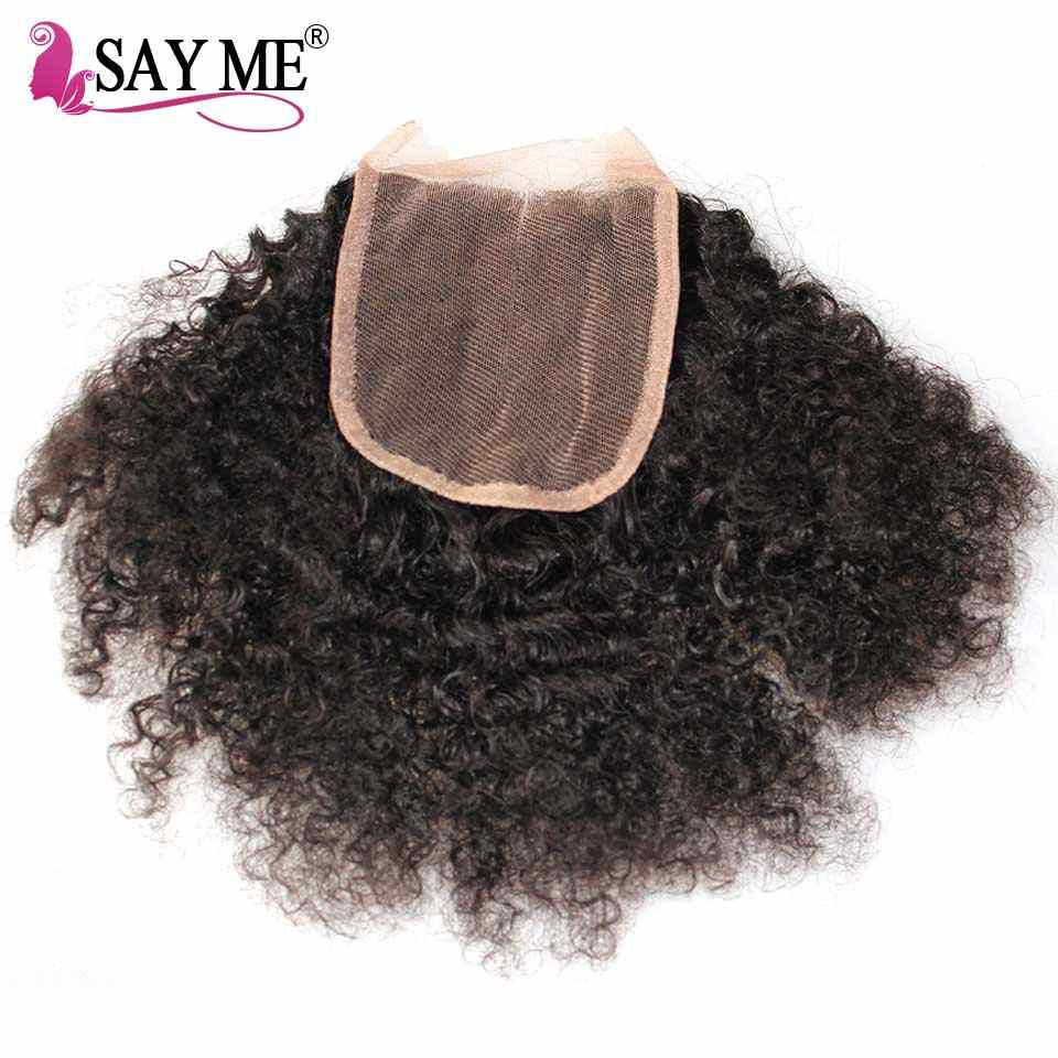 4*4 Afro Kinky Curly Closure Brazilian Hair Natural Color Remy Lace Closures Human Hair Free Part Pre-plucked 8-20inch SAY ME