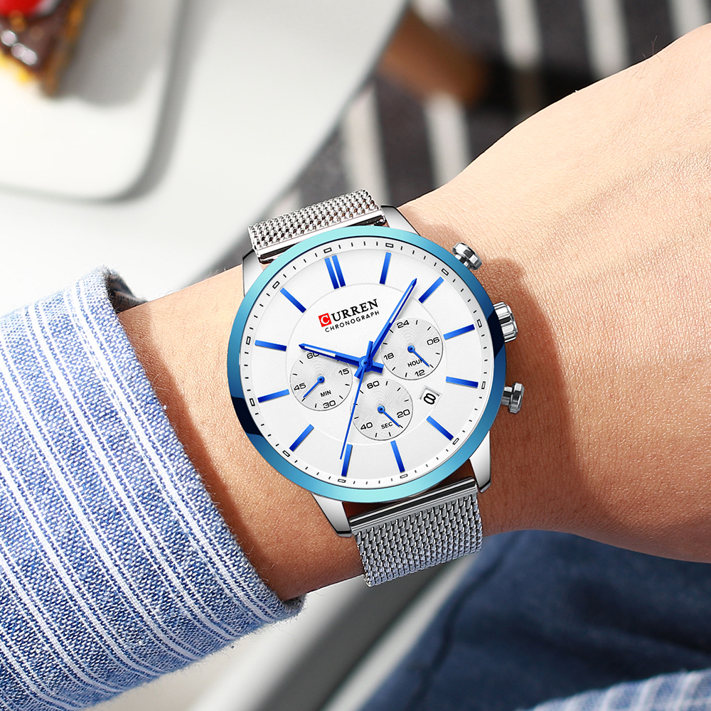 Image 5 - CURREN Luxury Brand Fashion Quartz Clock Mens Watch Causal Sport Watches Men Chronograph and Date Wristwatch with Steel MeshQuartz Watches   -