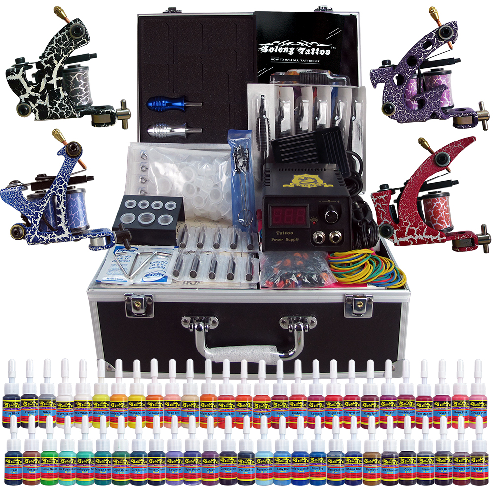 Professional Complete Tattoo Kit 4 Pro Machine Guns 54 Inks Power Supply Foot Pedal Needles Grips Tips Carry Case TK456