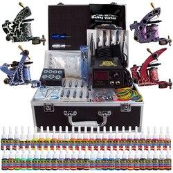 Stigma Professionele Compleet Tattoo Kit 4 Pro Machine Guns 54 Inks Voeding Voetpedaal Naalden Grips Tips Draagtas TK456