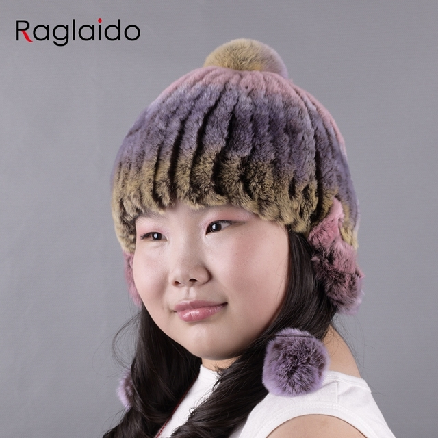8924432527b9fa Winter Fur Hats for Girls Real Fur Rex Rabbit Trapper Hat with balls Kids  pompom knitted hat hand knitted beanies 42-52cmLQC1001