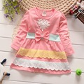 Autumn Long Sleeve Lace Bow Block Color Baby Party Girls Kids Children Cotton Dresses, princess infant  Dress Vestido S3582