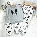 Mujeres Ladies Home Nightclothes Conjuntos O-cuello Con Capucha de Manga Larga + Pants de la Historieta Polar Caliente Suave Pijama de Dormir Trajes
